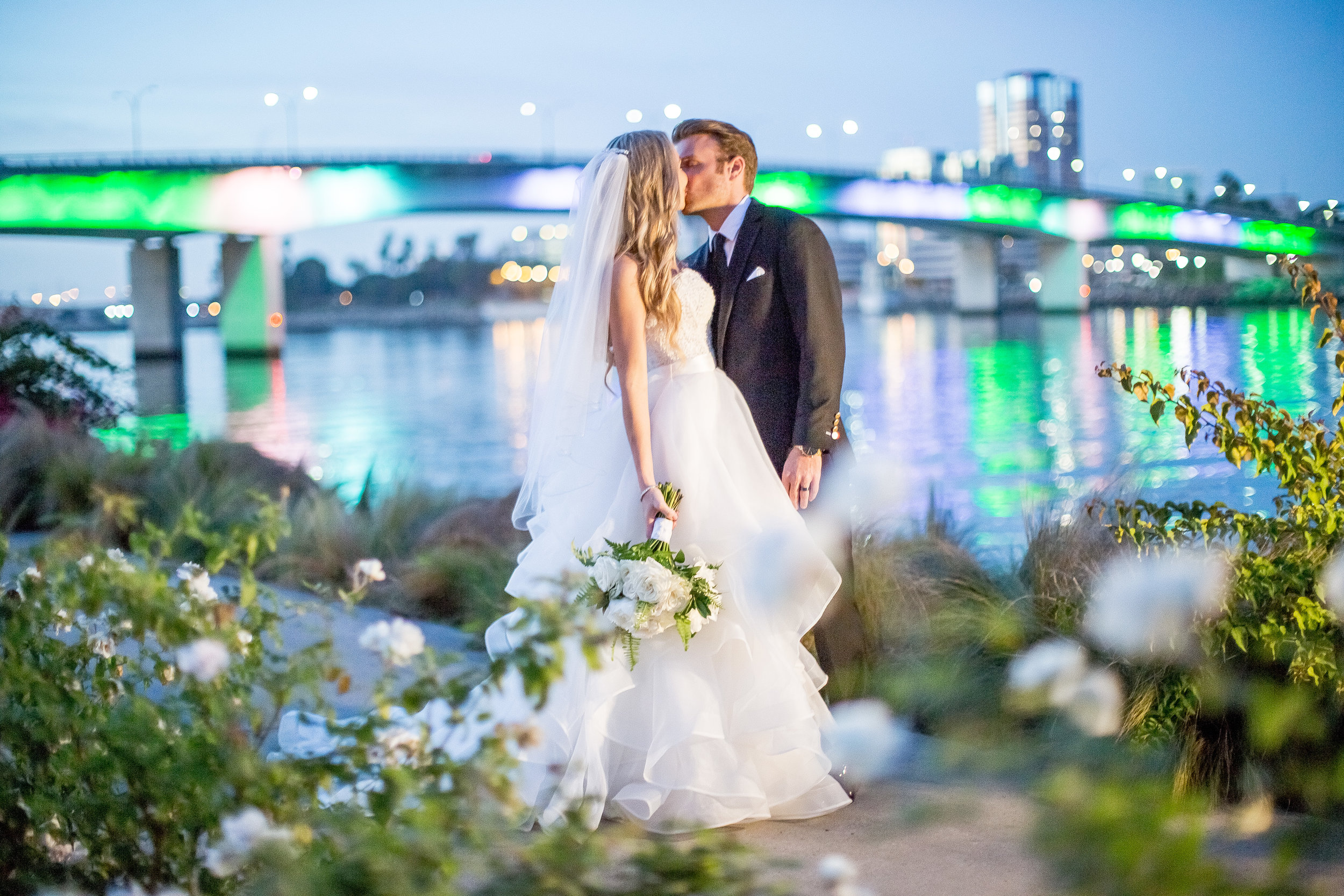 Long Beach Bridge Wedding Photo