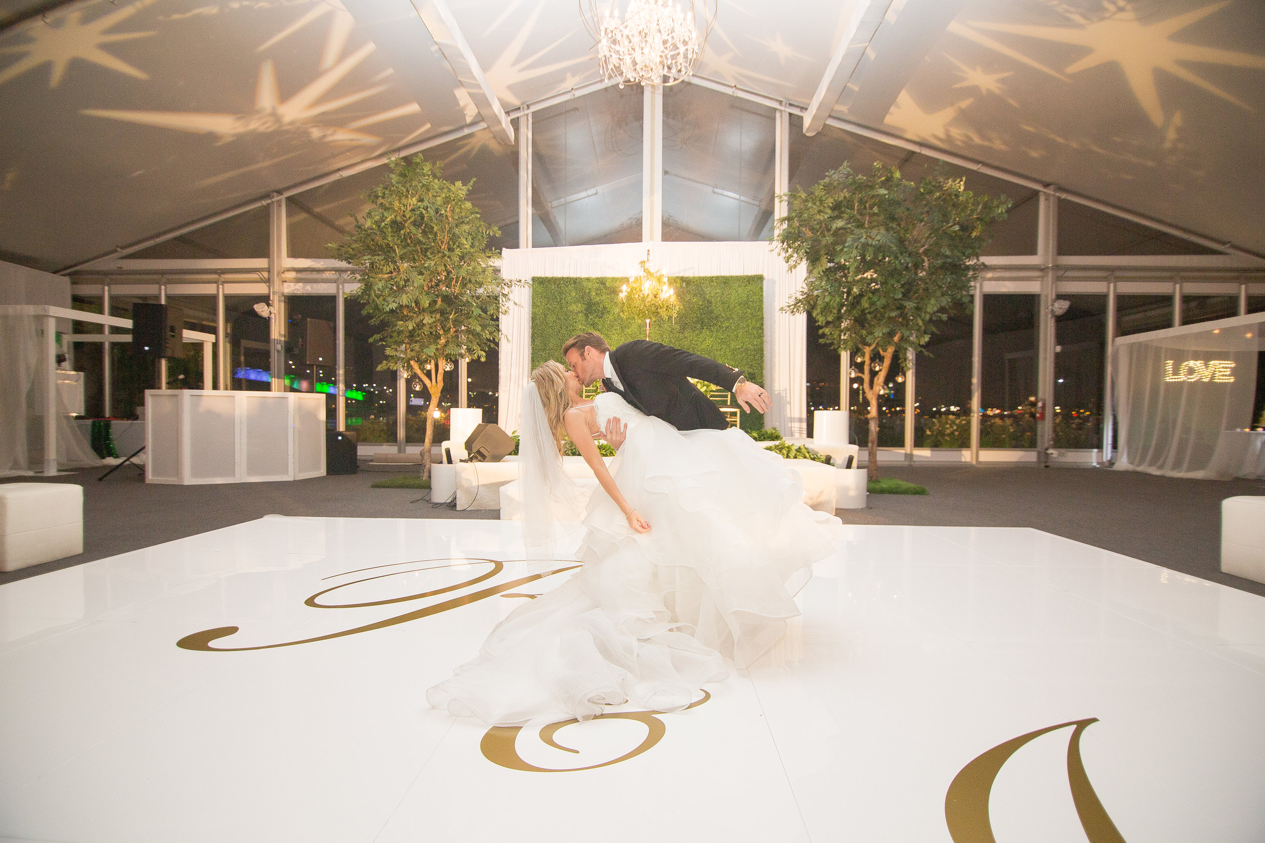 First Dance Dip Photo with Custom Dance Floor Decal