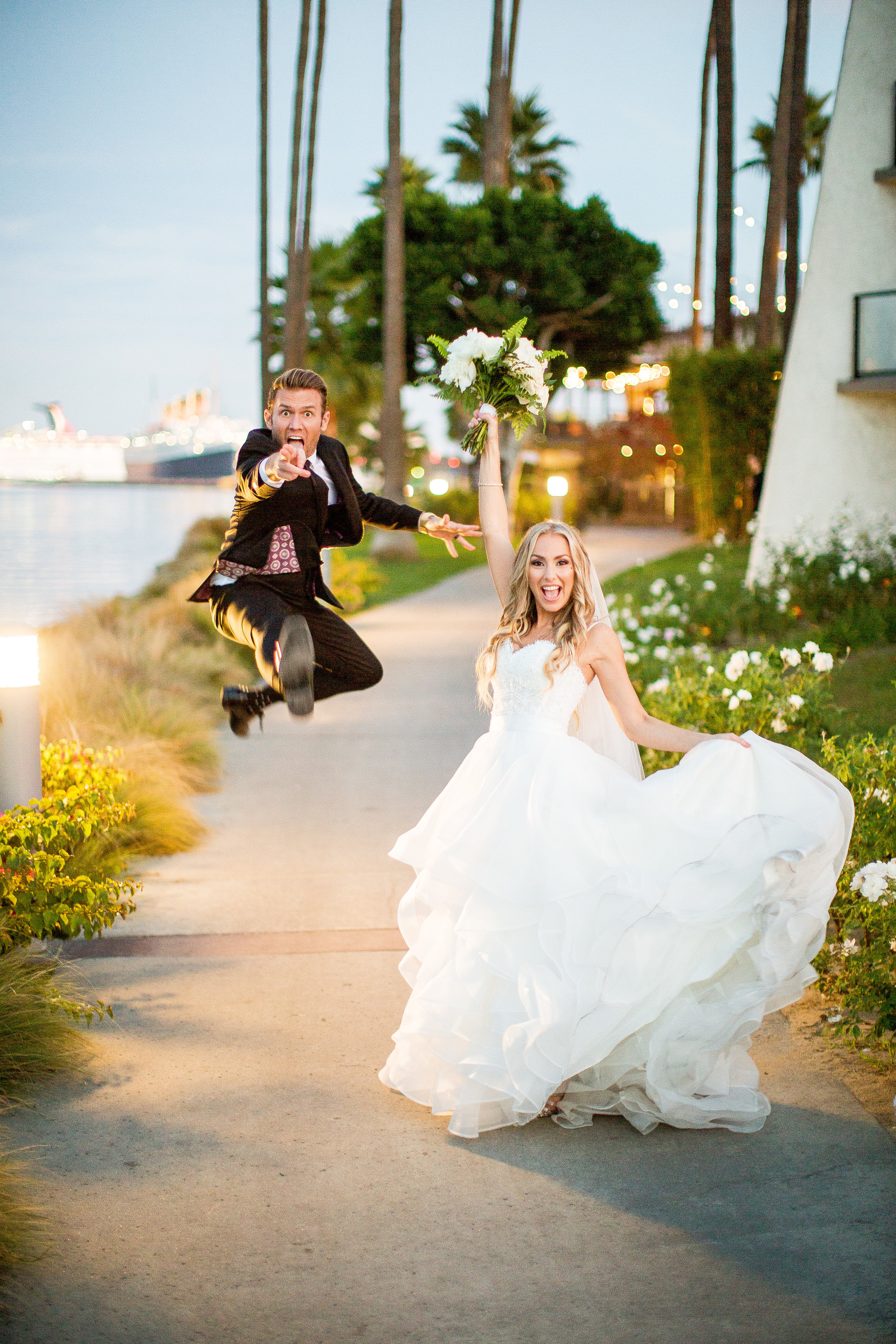 Wedding Couple Jump Photo