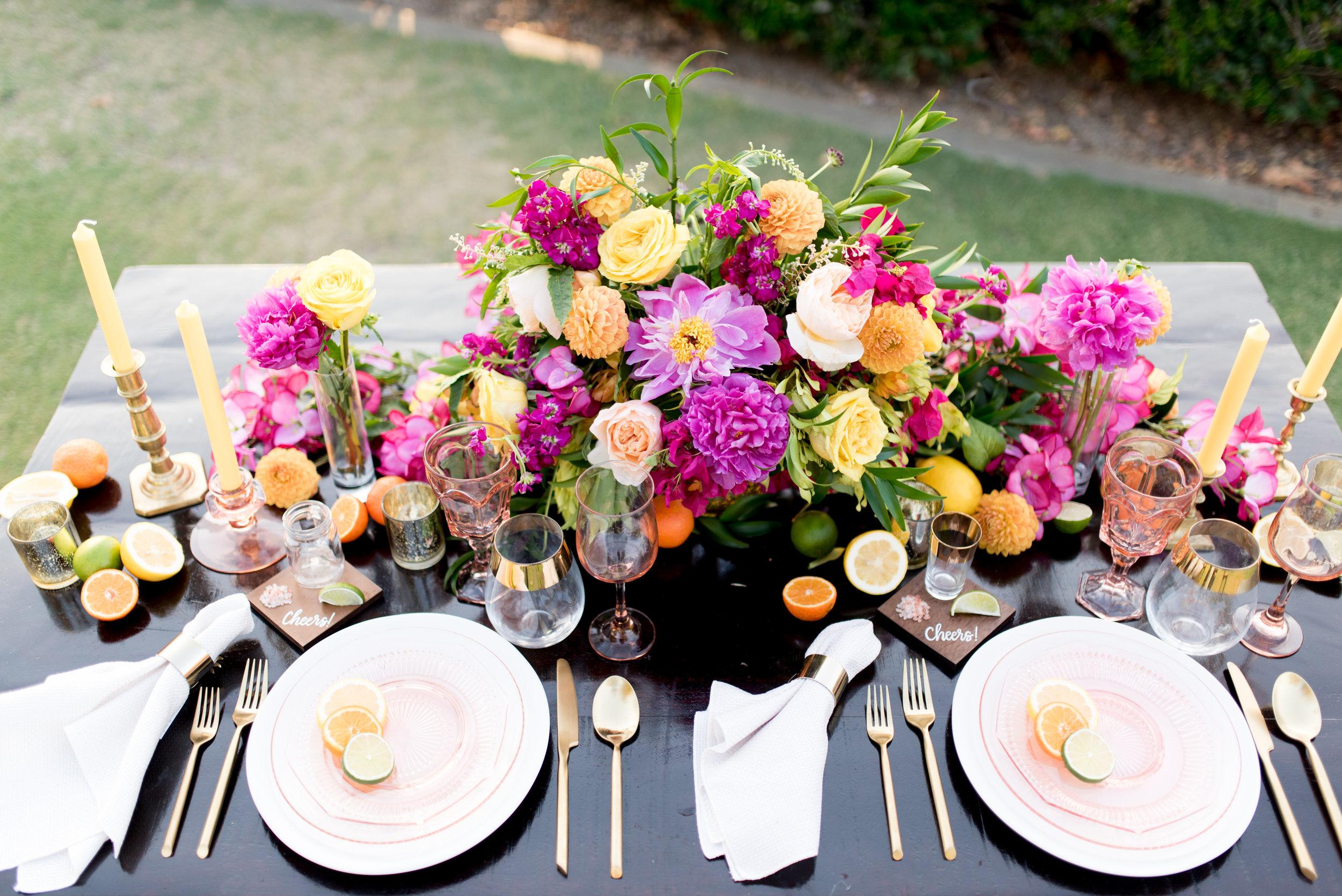 orange county wedding colorful table design