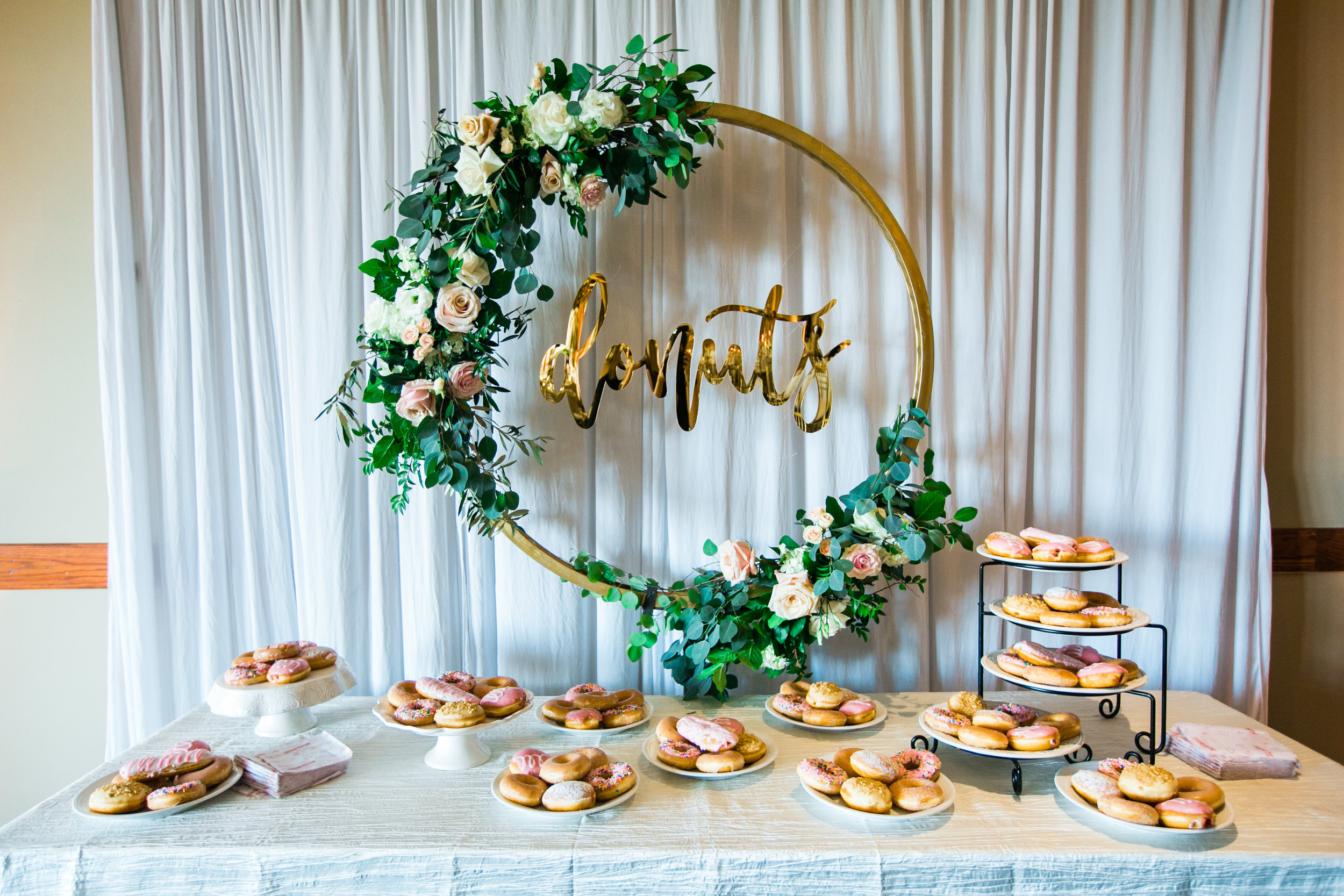 wedding donut sign with floral