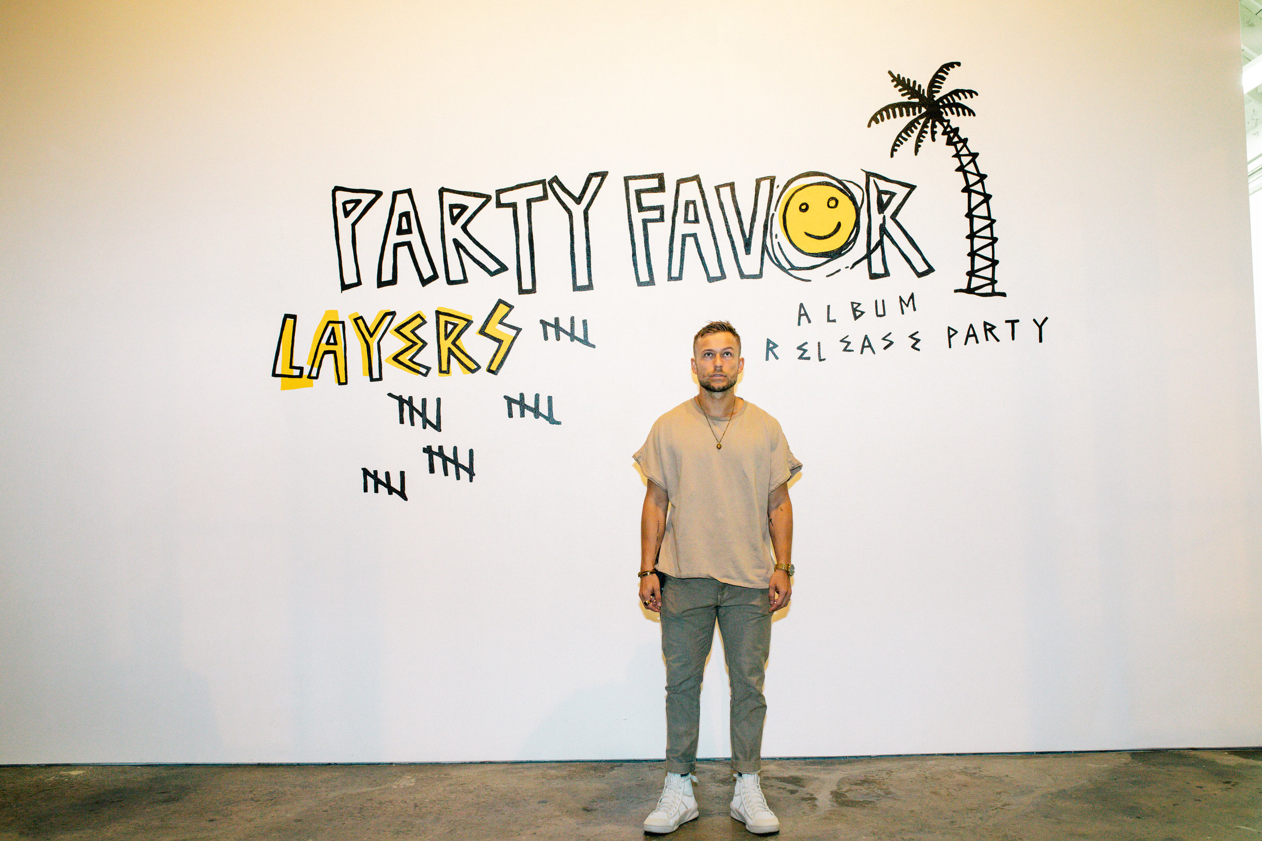 Party Favor Los Angeles Album Release Party with custom wall mural