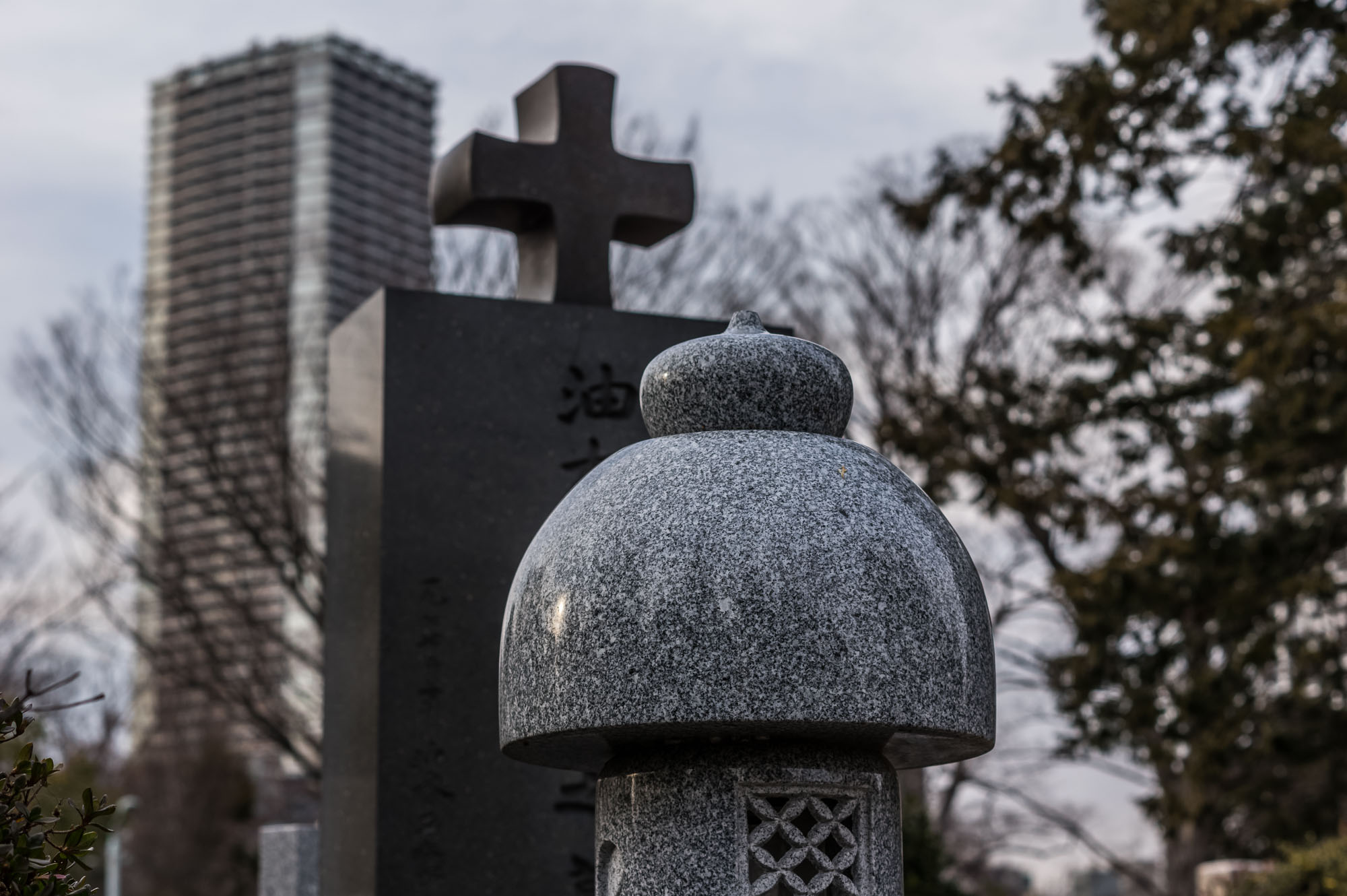 So much contrasting architecture to be found in Zoshigaya cemetery