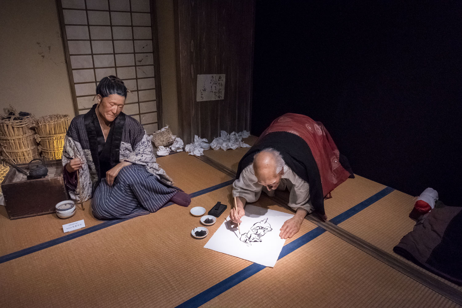 Hokusai and this daughter at work in their studio