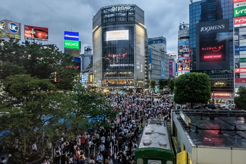Shibuya crossing on a rainy Wednesday evening