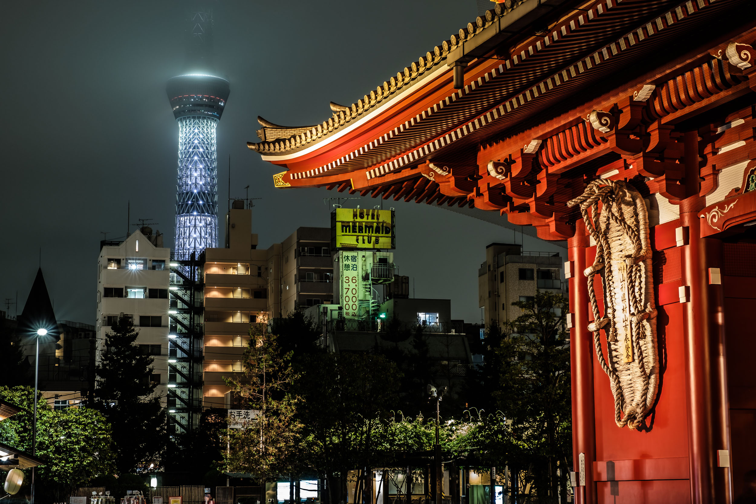 Tokyo Skytree, with its top-half covered in cloud, behind the Hozo gate