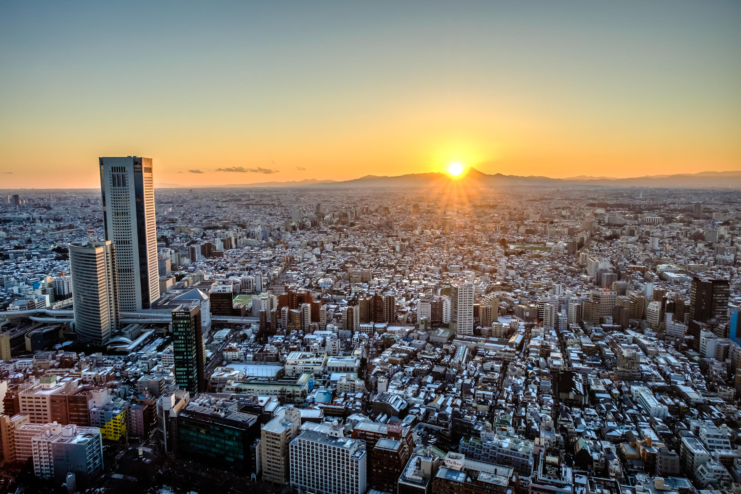 Mt. Fuji seen from the Tokyo Metropolitan Government Building at sunset