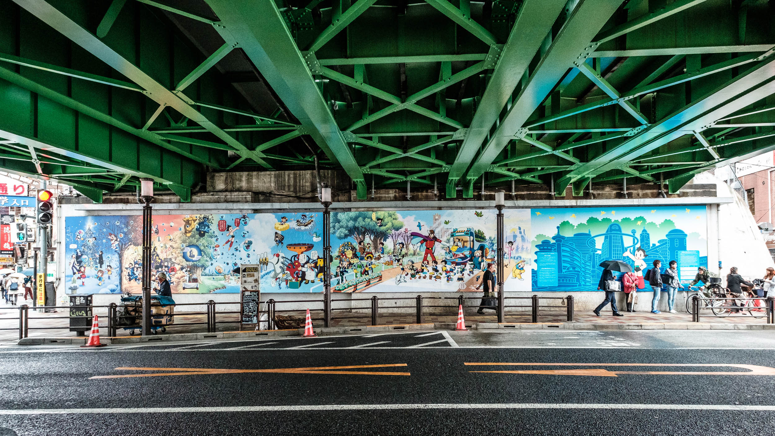 The biggest mural, right across the road from Takadanobaba station under the Yamanote tracks