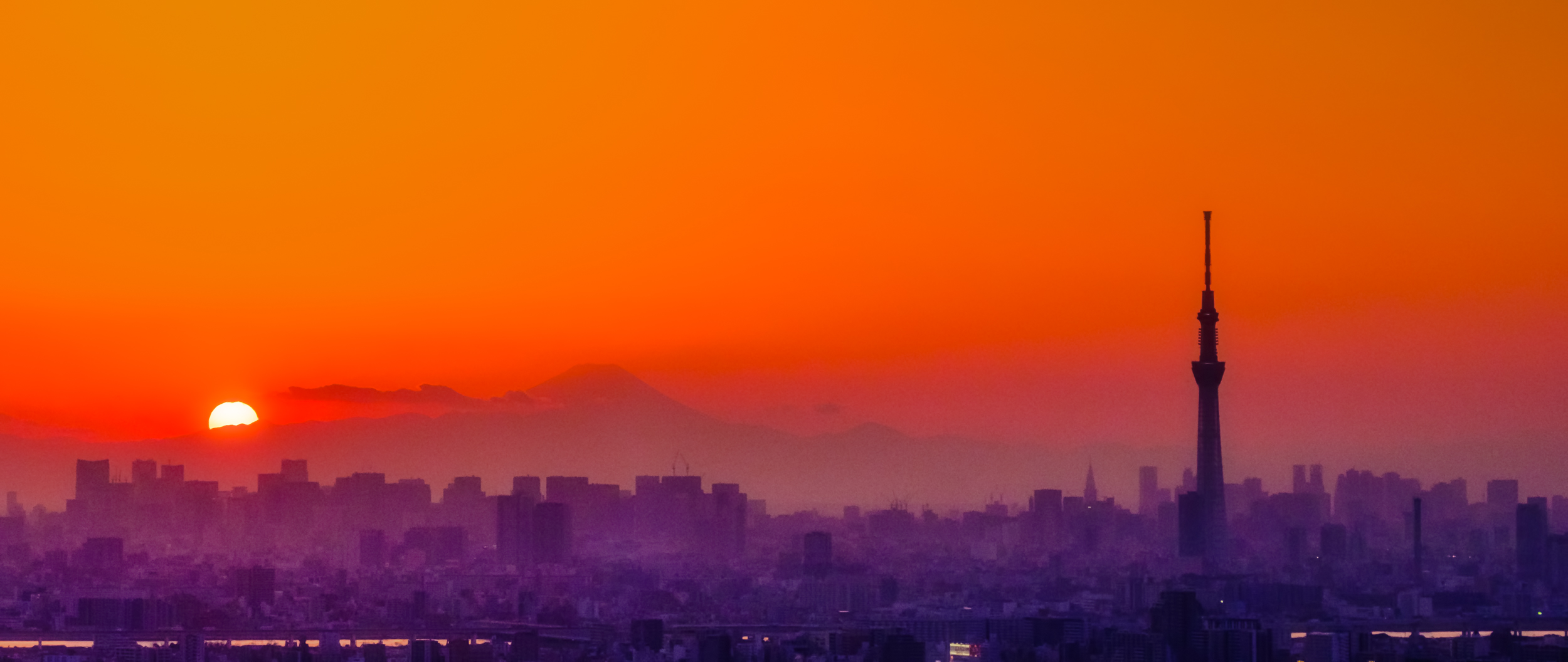 Sunset, Mt. Fuji and Tokyo Skytree. This, I thought, was the best picture of the day, but it is heavily edited.