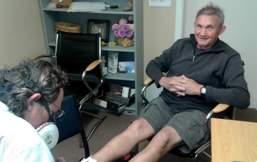 Justin Powell taking good care of Matua Stan Wybrow