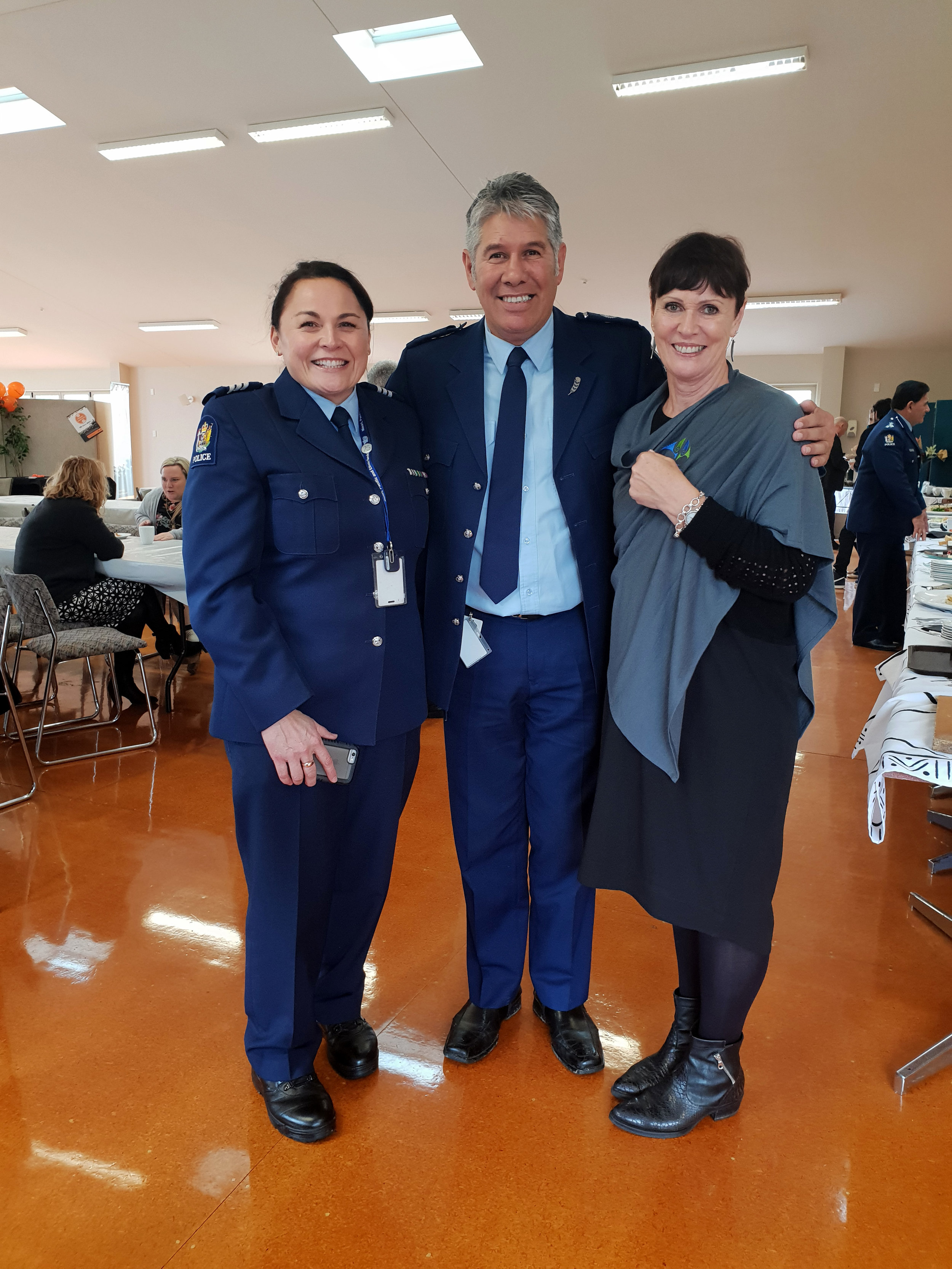 Sergeant Erin Hurley, Maori Responsiveness Manager Dexter Traill and Anne Hobby