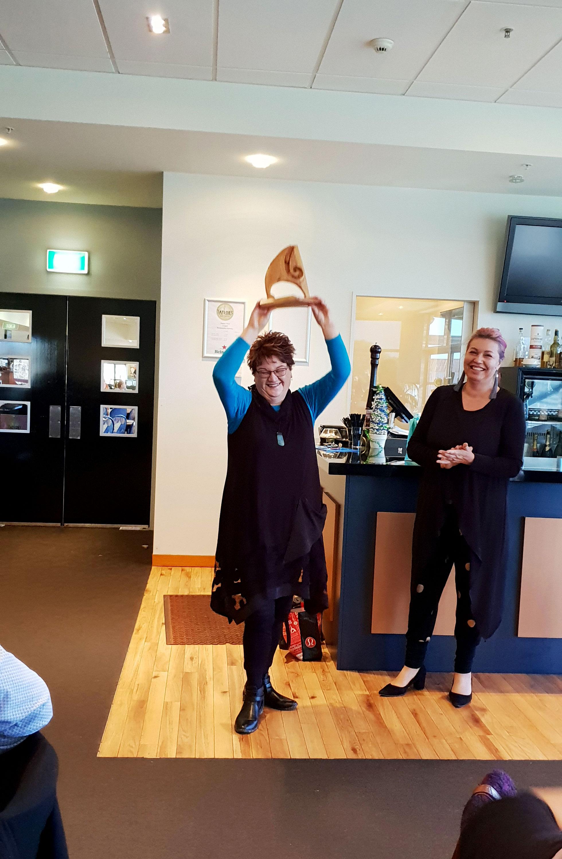 Karen Davidson - collecting Overall winner trophy