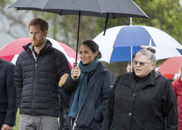 The Duke and Duchess of Sussex Prince Harry and Meghan with our very own TPO chair whaea Jane du Feu.