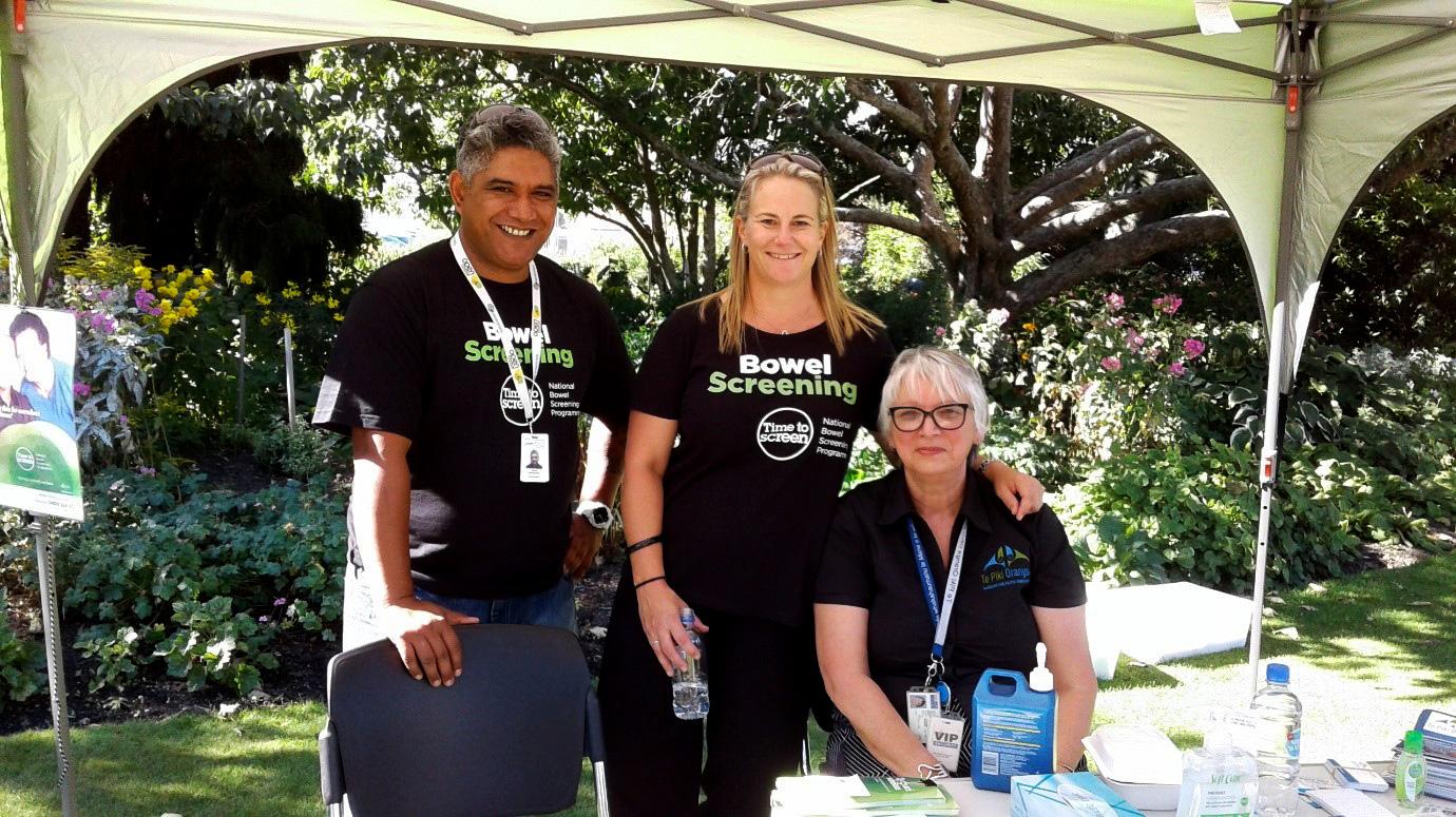 Pūkenga Manāki Viveyan Tuhimata-Weke with the team from Bowel Screening Shaun Wharehoka and Dr Melissa Cragg