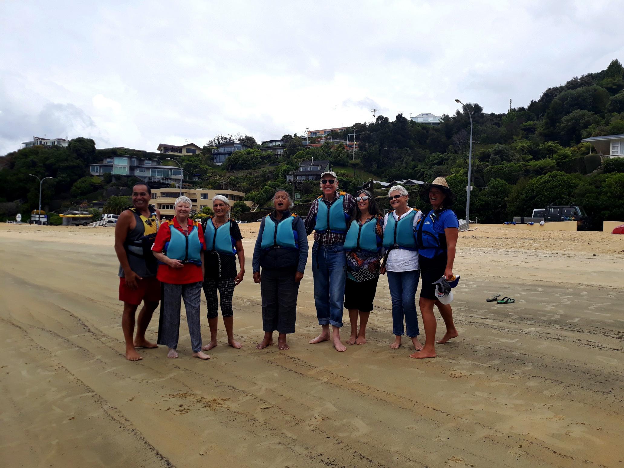 Some of the kaumātua from Rōpū Kaukau and Te Oranga Pai, a contingent of Raranga group doing a presentation for their appreciation
