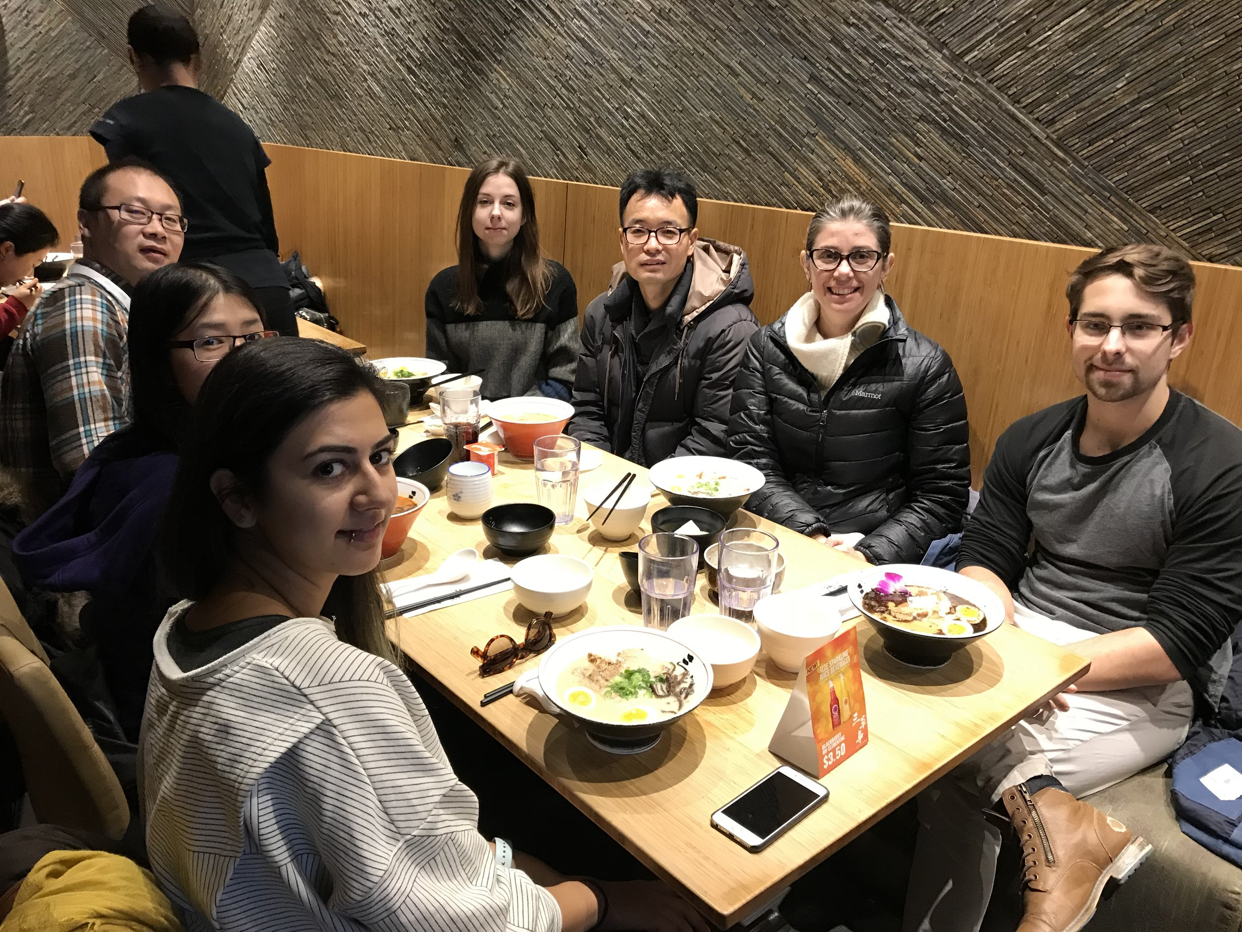 Xuetao, margaret, yassi (left) olya, ben, sara and kenny (right) at sansotei