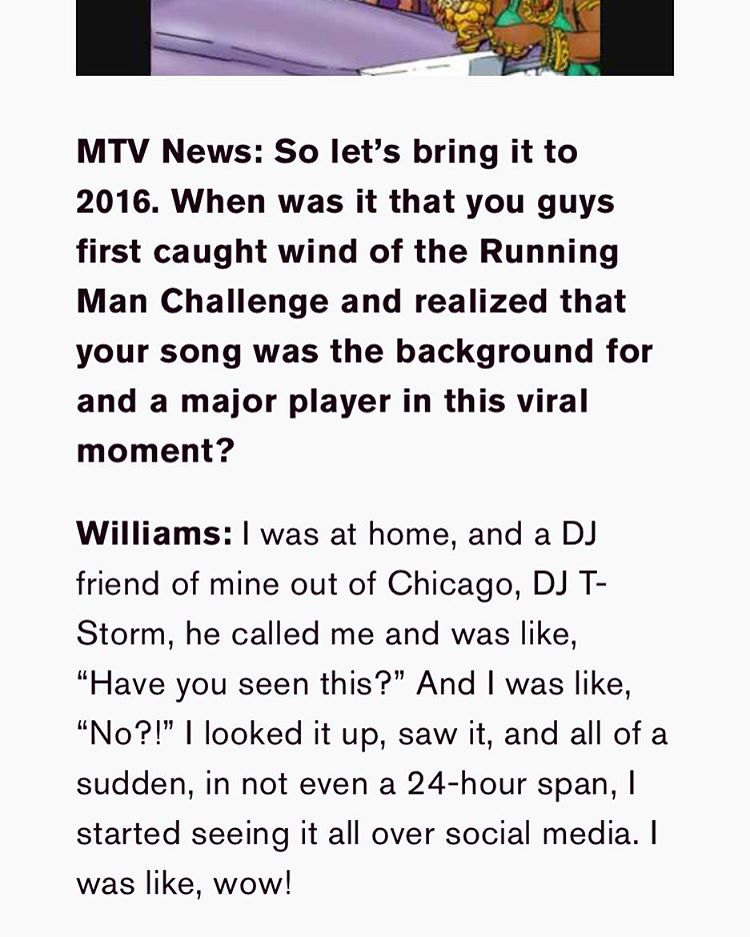 So as the running man challenge has sparked the resurgence of and already big record to get even bigger I take pride in knowing that my friend is getting her props after all these years. S/O to my sister Virgo @virgoworld1 and #GhostTownDjs Big tings ah gwon!   http://www.mtv.com/news/2879922/ghostown-djs-my-boo-running-man-challenge/?xrs=share_copy_email