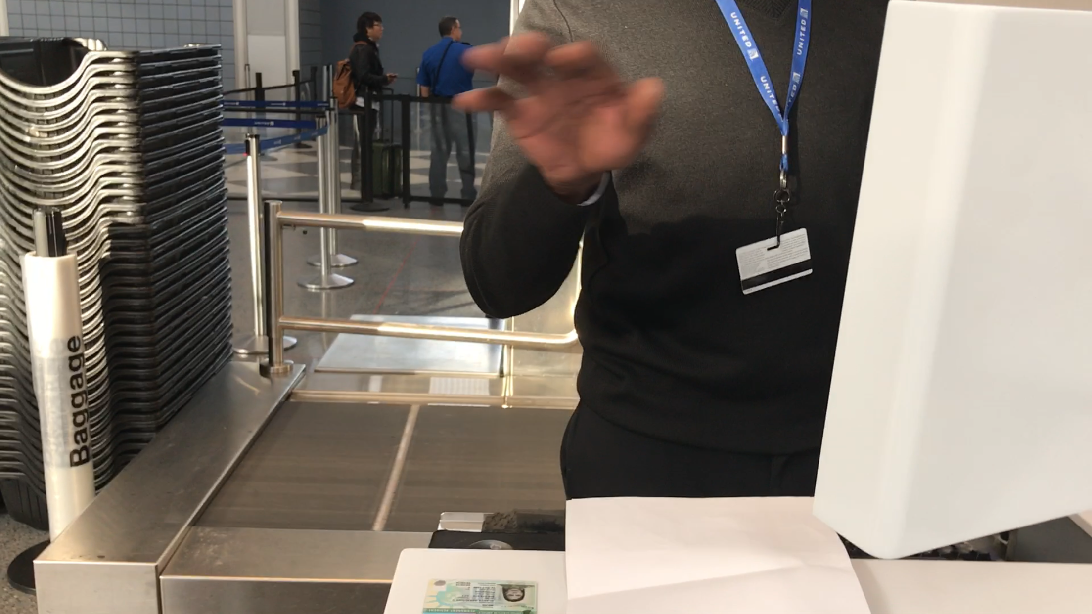 Delta agent purposely flipped his I.d to conceal his identity