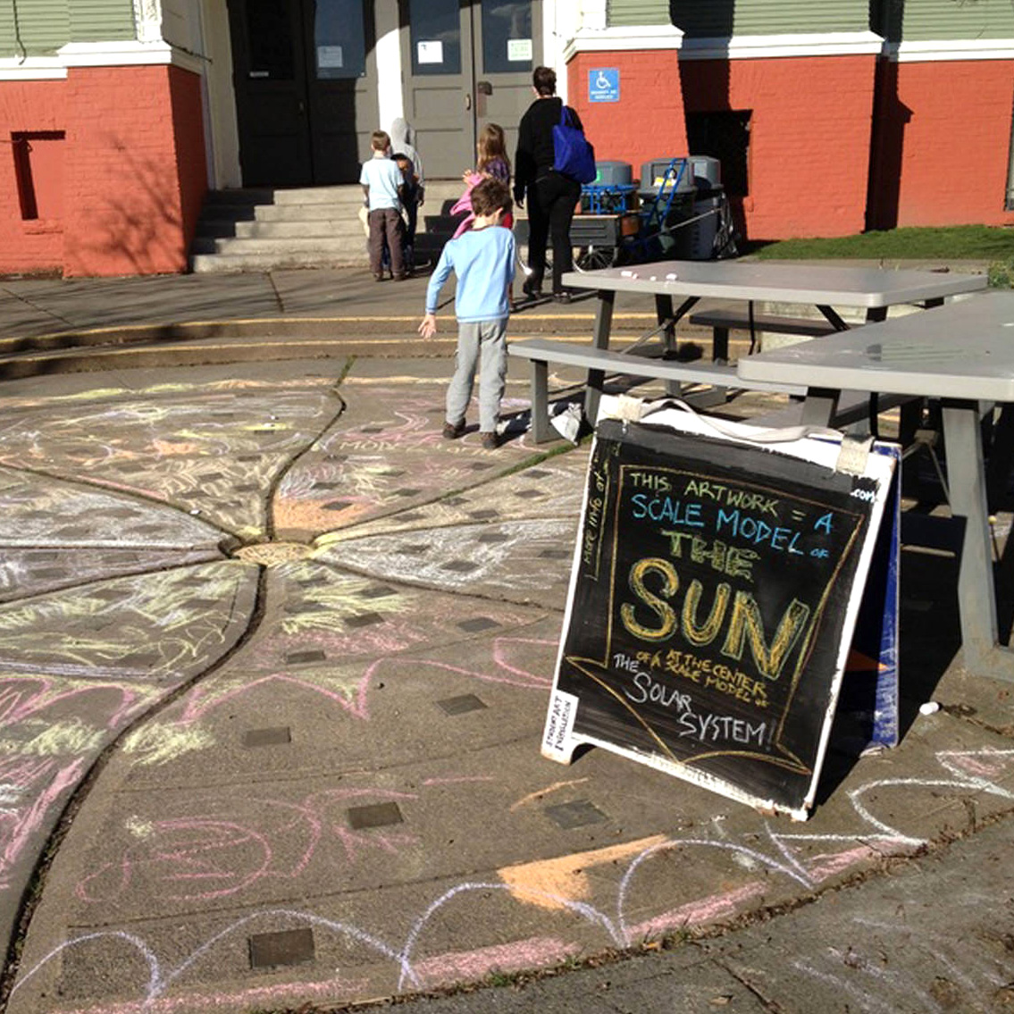 The Solar System - In January of 2016 TDA studied painting and scale via an astronomy-themed lesson plan. Our participants painted all of the planets (and a few dwarf planets too). We then created a region-wide art installation by placing scale-sized images (either on the sidewalk or on sandwich boards) at an accurate scale distance from our 18 foot wide sidewalk painting of the sun. Our planets spanned out from there throughout Seattle and out into our surrounding farmland.