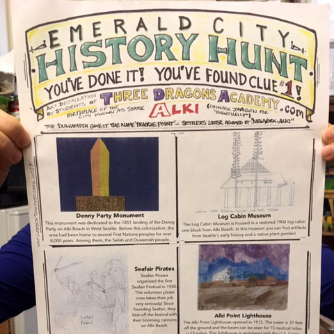 Emerald City History Hunt - Our 2018–2019 Three Dragons Academy students created this cross-city history hunt as the culmination of their art and history studies. The hunt was designed as an experiential exploration of Seattle art and history for the whole family.
