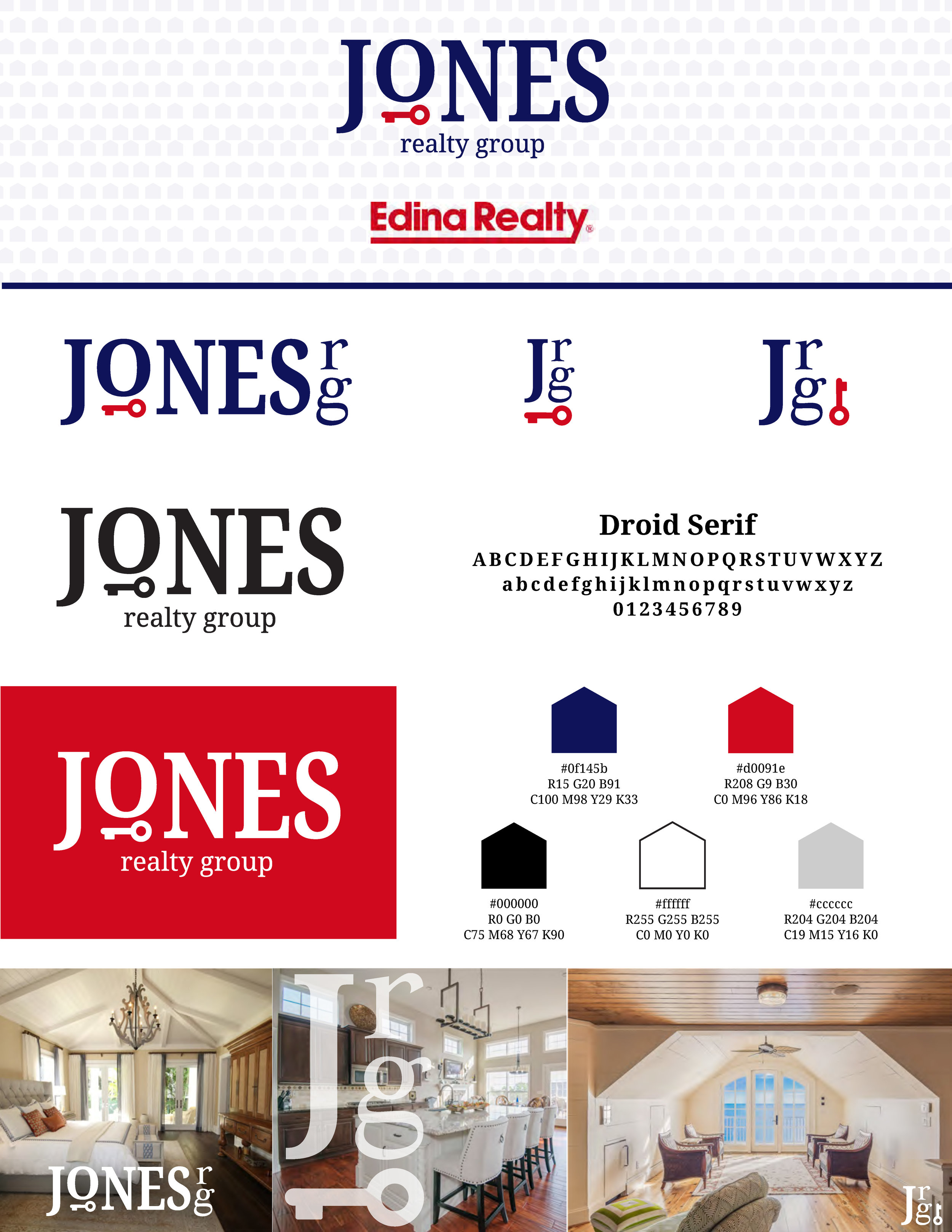 One page style guide summary including logo use suggestions. (*Edina Realty logo is not a Pixel Loon design - it is only included to show that our Jones Realty Group logo will work in tandem with it)
