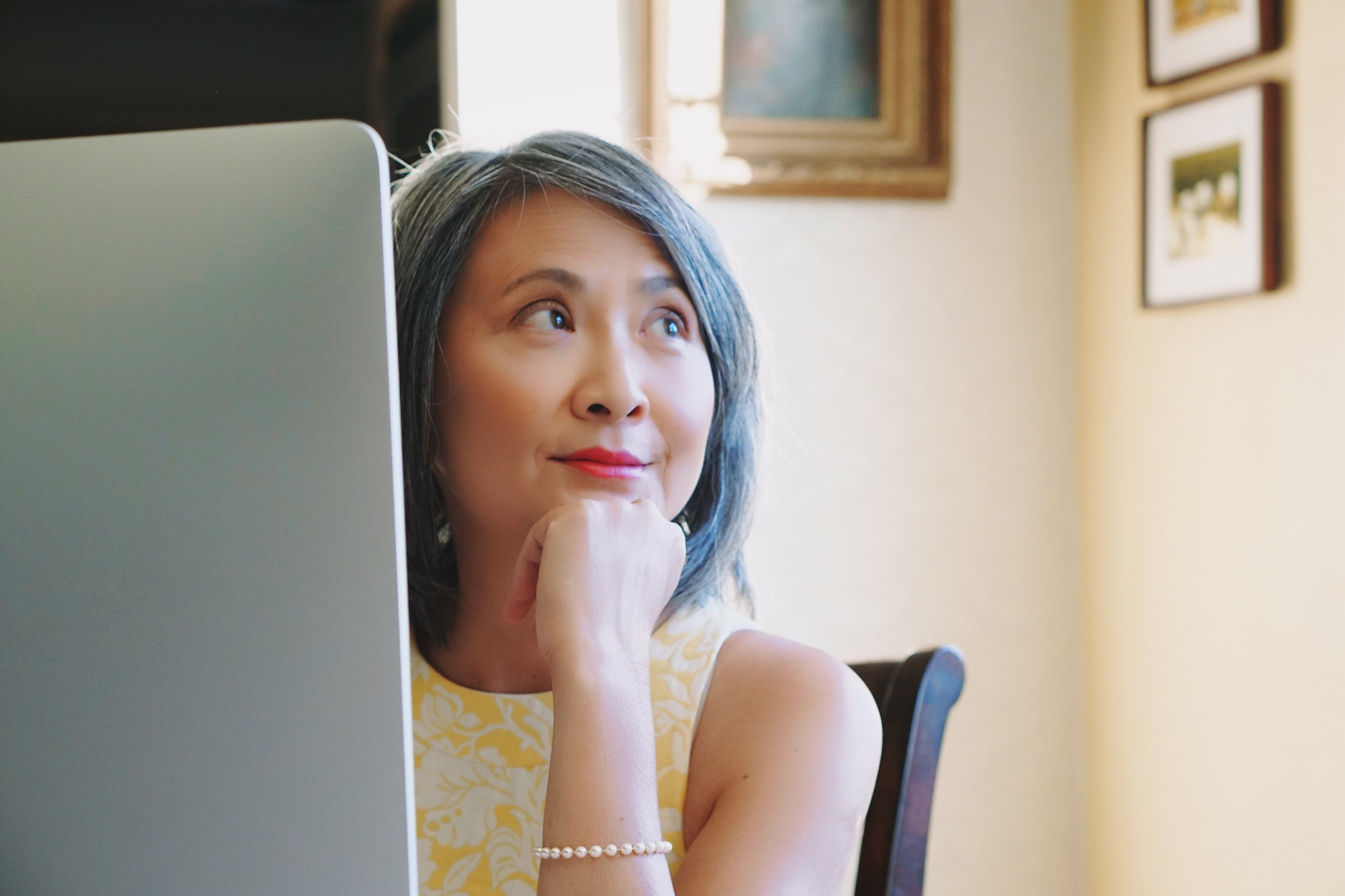 Author Hoang Chi Truong writing