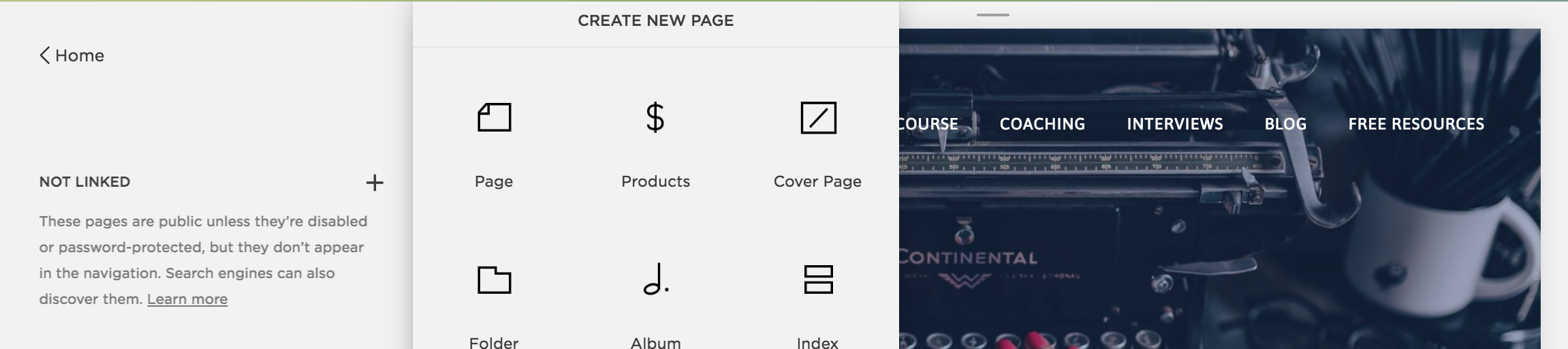 Add a new unlinked page