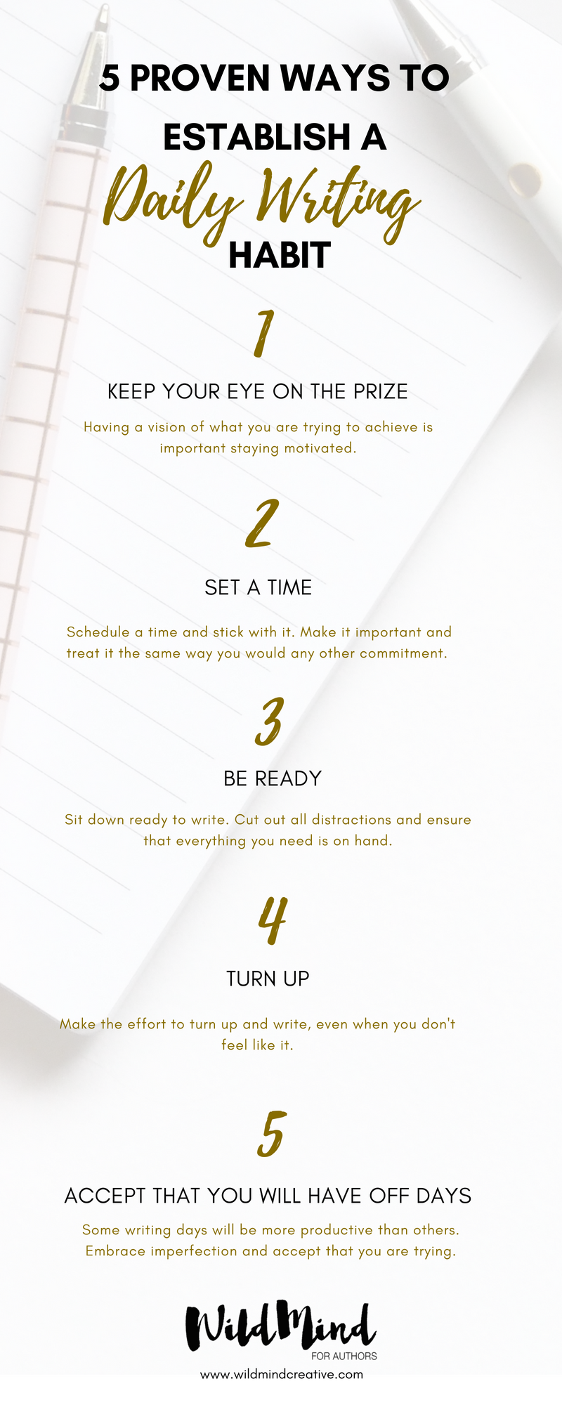 5 Proven Ways to Establish a Daily Writing Habit - Infographic by WildMind Creative