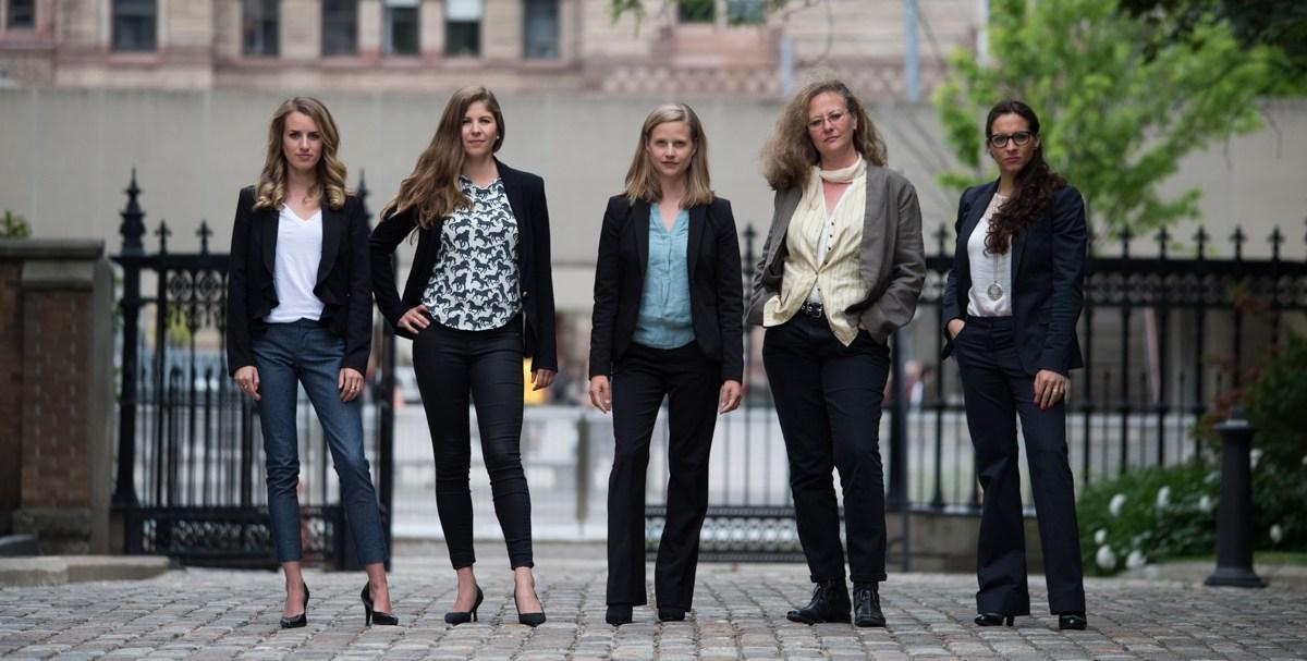 Photo: Jo-Anne McArthur /  Unbound Project . Pictured: Camille Labchuk, Sophie Gaillard, Anna Pippus, Lesli Bisgould, Alanna Devine