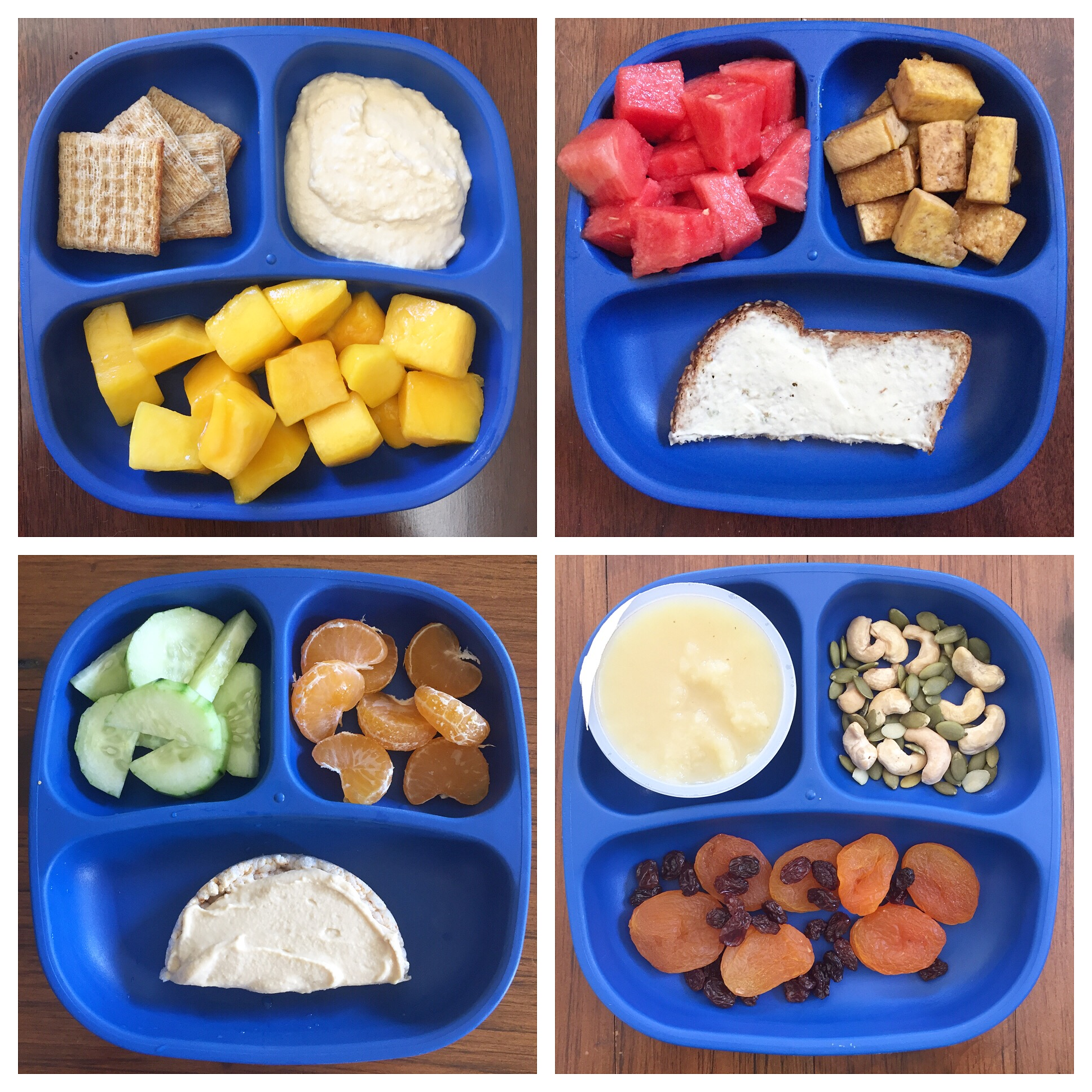 Snack platters: Low-sodium whole grain crackers, hummus, mango (from frozen), watermelon, tofu, whole grain toast with cultured cashew spread, cucumber, oranges, whole grain rice cake with hummus, apple sauce, cashews and pumpkin seeds, dried apricots and raisins.
