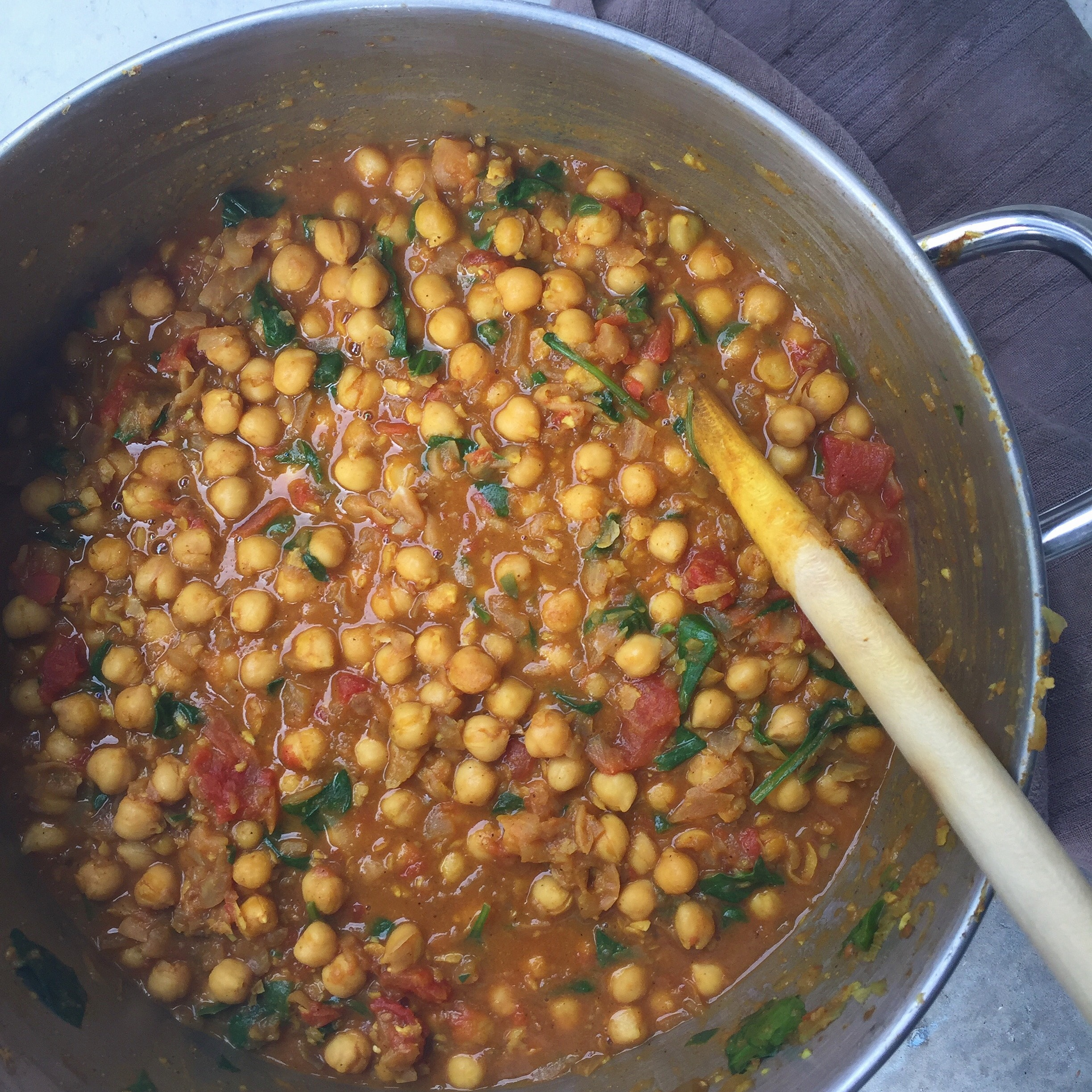 Coconut chickpea curry with spinach