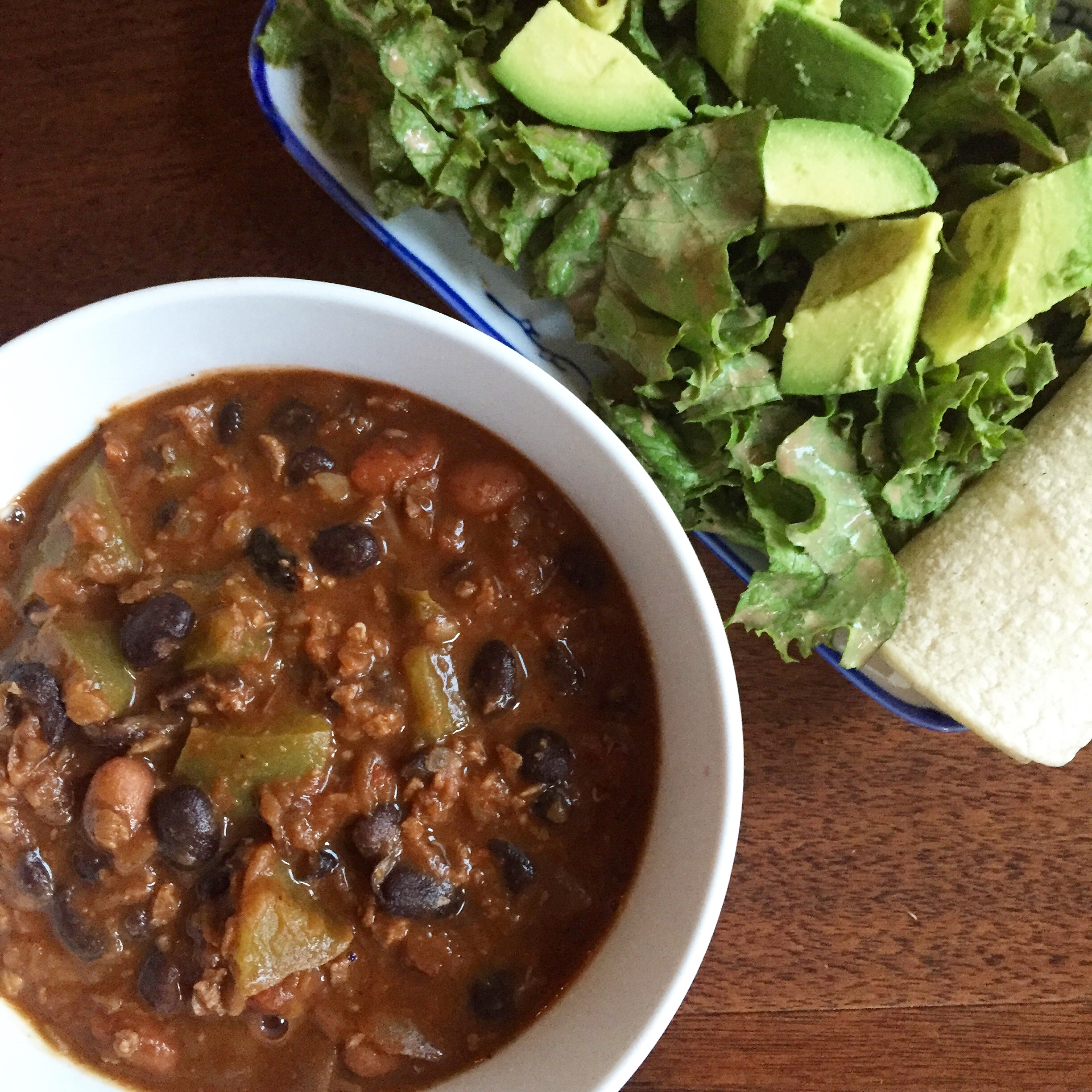 Chili (three kinds of beans and two kinds of lentils); salad and tortillas on the side