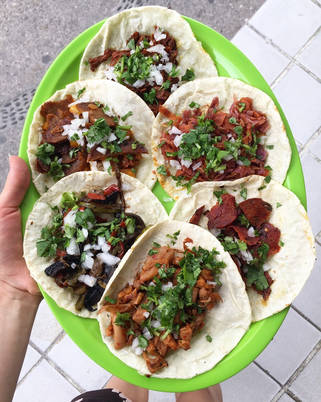 One of each kind of taco at Veggie Table.