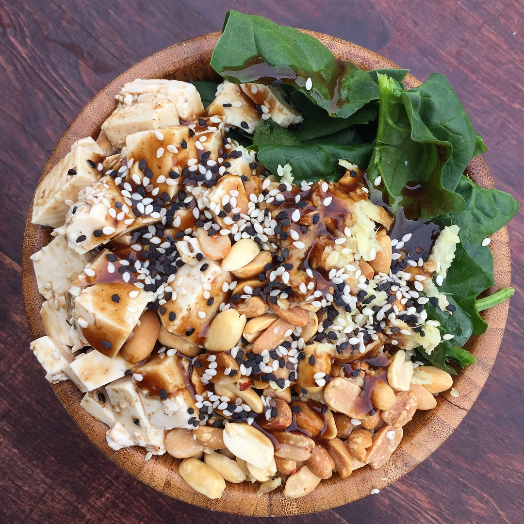The ginger-poke bowl with baked peanuts.