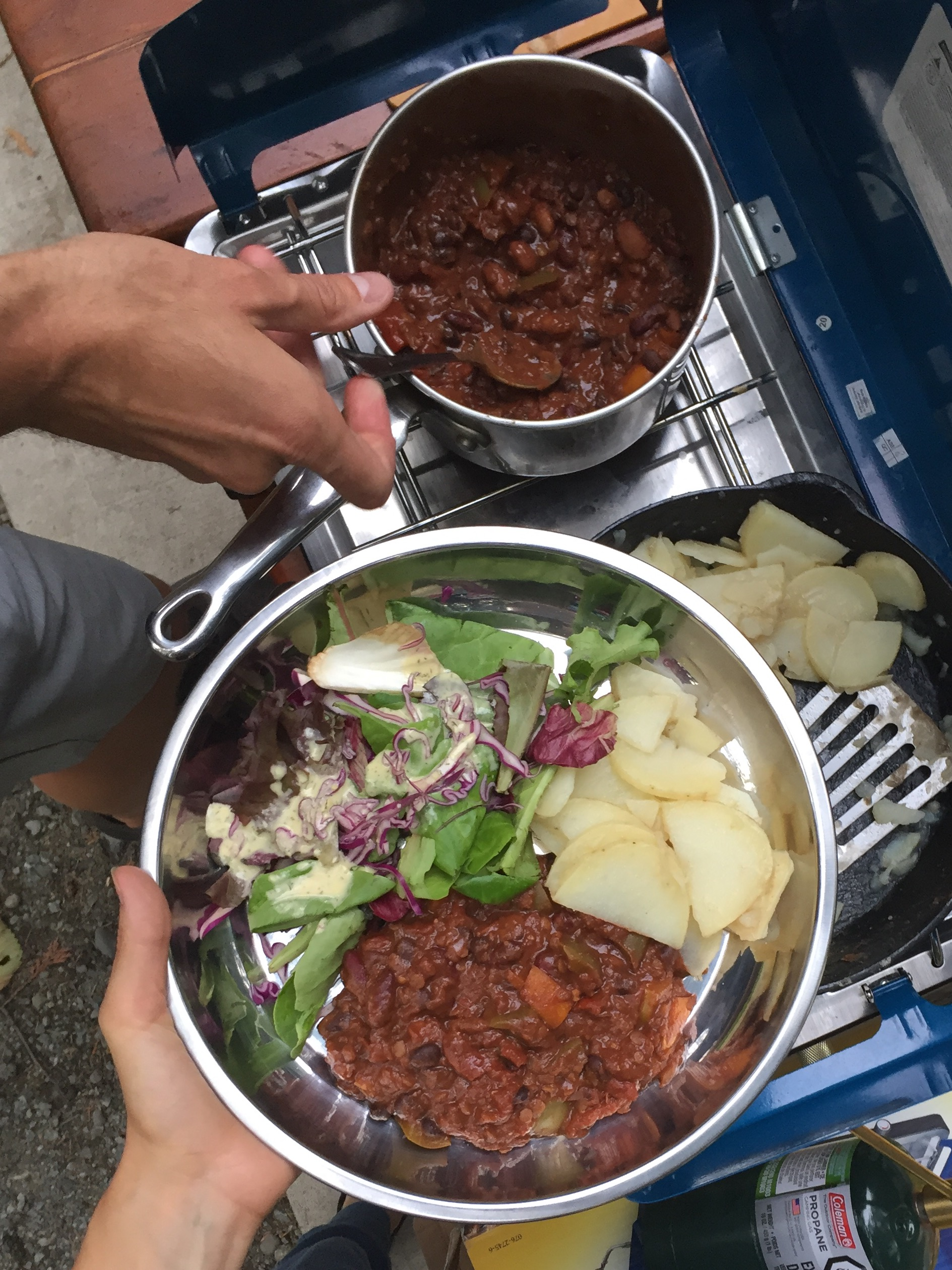Chili, potatoes, salad—this is actually more involved than usual