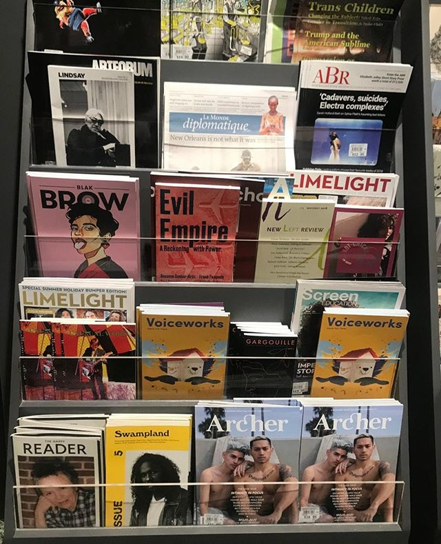 Back in stock at @Readingsbooks Carlton ⚡ Look at that beautiful stack! Keeping us company: @archermagazine, @liftedbrow Blak Brow issue, @lindsaymagazine, @voiceworksmag 🌟 👋