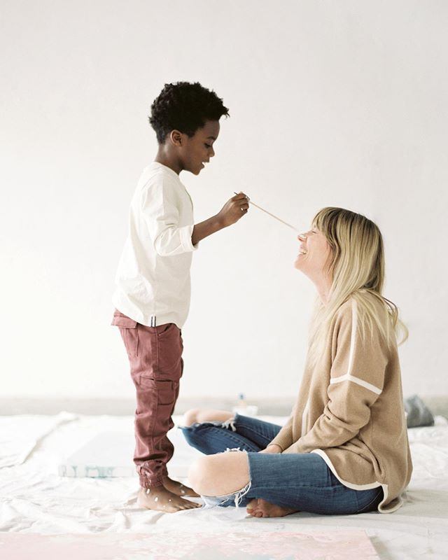 Mother's day weekend feels like a perfect time to share these moments. Got to spend a day creating with a couple moms and kids that I adore. I'm so grateful to witness the boldness and gentleness that @chelseyann carries with her in motherhood, even with paint on her face. | photos by the dear @elyfair