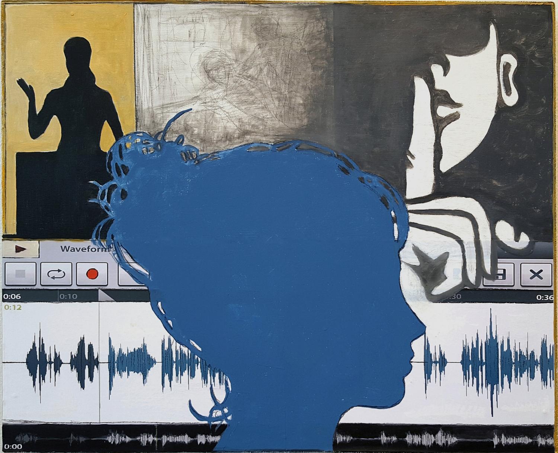 "Morgan   2015 acrylic, graphite, charcoal, conté,inkjet print on panel 17"" x 21 1/4"" x 1 3/4"""