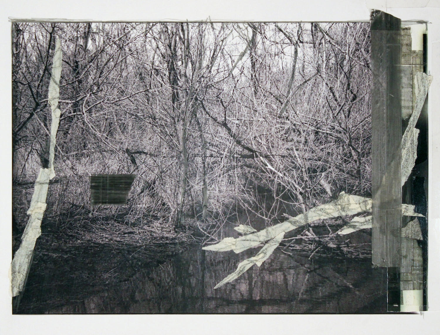 "I Could Hear the Water at the Edge of All Things    2017 graphite, masking tape, transparent tape, laser prints on matte photo paper 8 1/2"" x 11 3/8"""