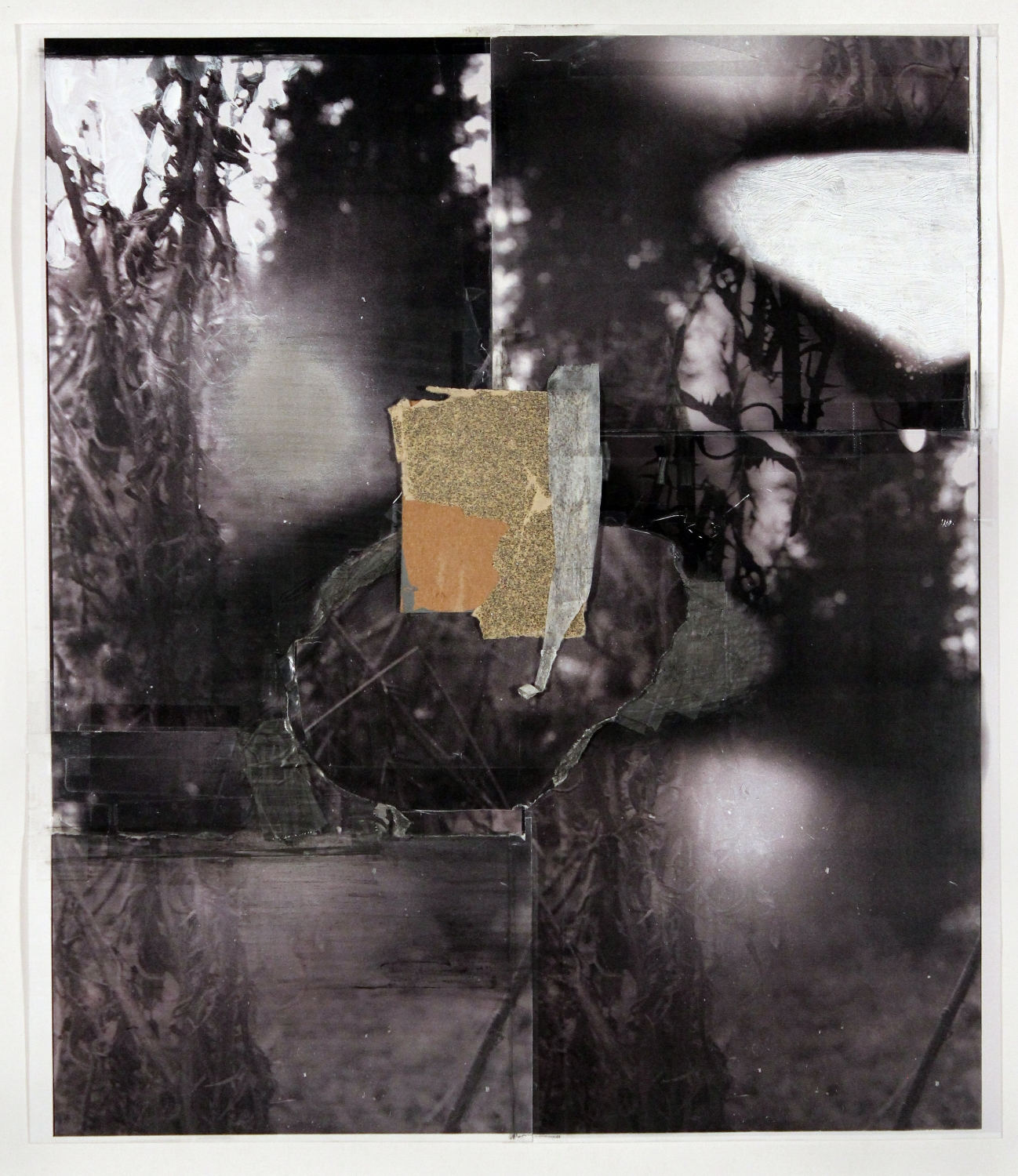 "My Thoughts Will Pause, My Throat Will Swell   2018 acrylic, graphite, transparent tape, cardboard, sandpaper, laser prints on photo paper 16 1/4"" x 14 1/8"""
