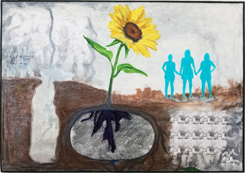 "Sunflower   2018 acrylic, graphite, pastel, fabric, silkscreen, inkjet prints on panel 21"" x 31"""