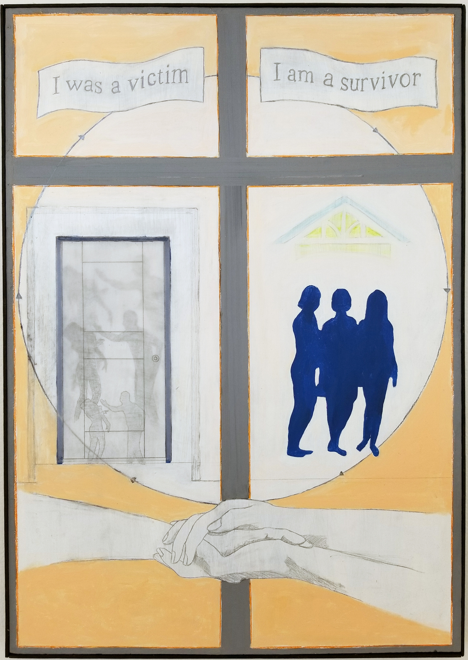 "Ruth   2018 acrylic, graphite, colored pencil, vellum on panel 31"" x 21"""