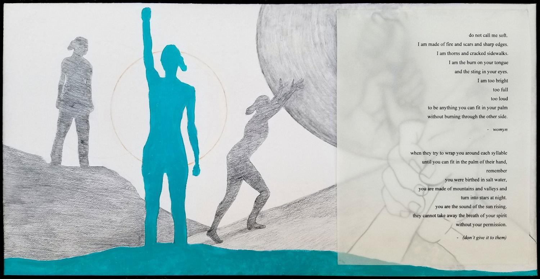 "Sarah   2018  acrylic, graphite, colored pencil, vellum on illustration board 12"" x 24"""