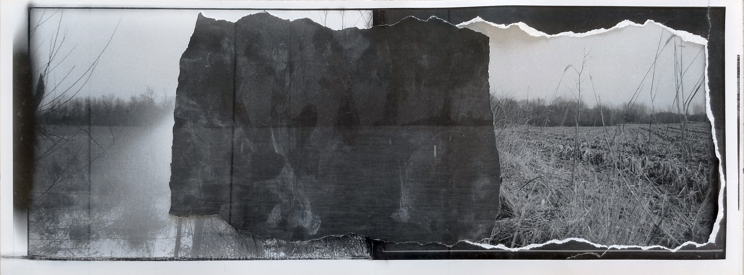 "Borrowing the Past   2019 laser prints, drywall dust, transparent tape, photo paper 7 3/4"" x 21 1/2"""