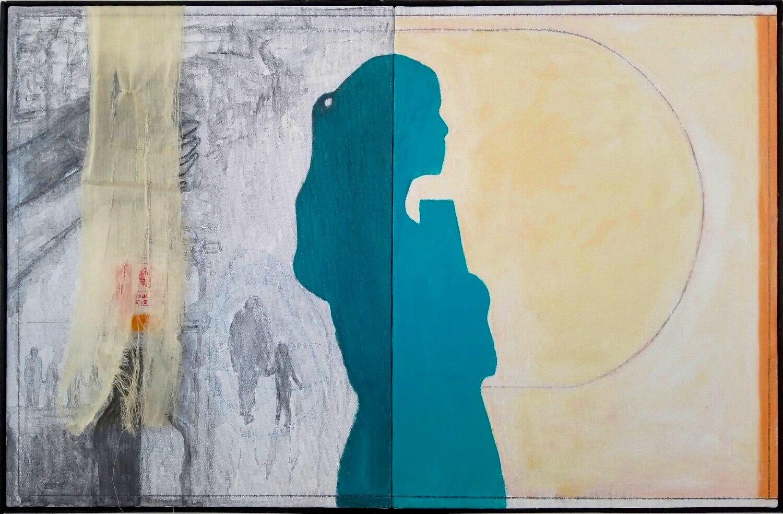 "Tejia   2018 acrylic, graphite, fabric on canvas 20"" x 32"""