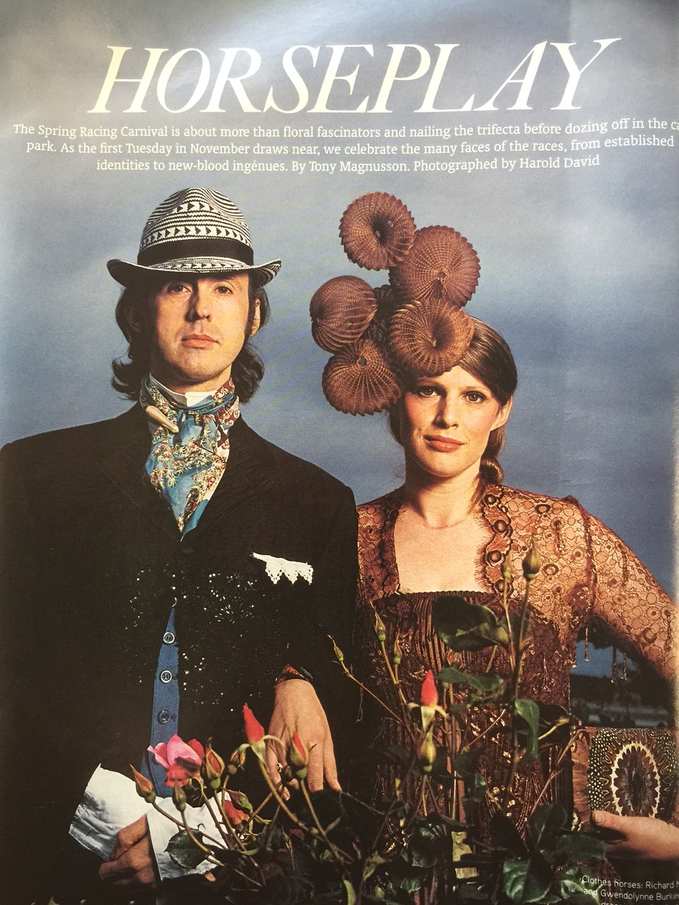 Gwendolynne Burkin and Richard Nylon Herald Sun Cover shot Spring Racing .JPG