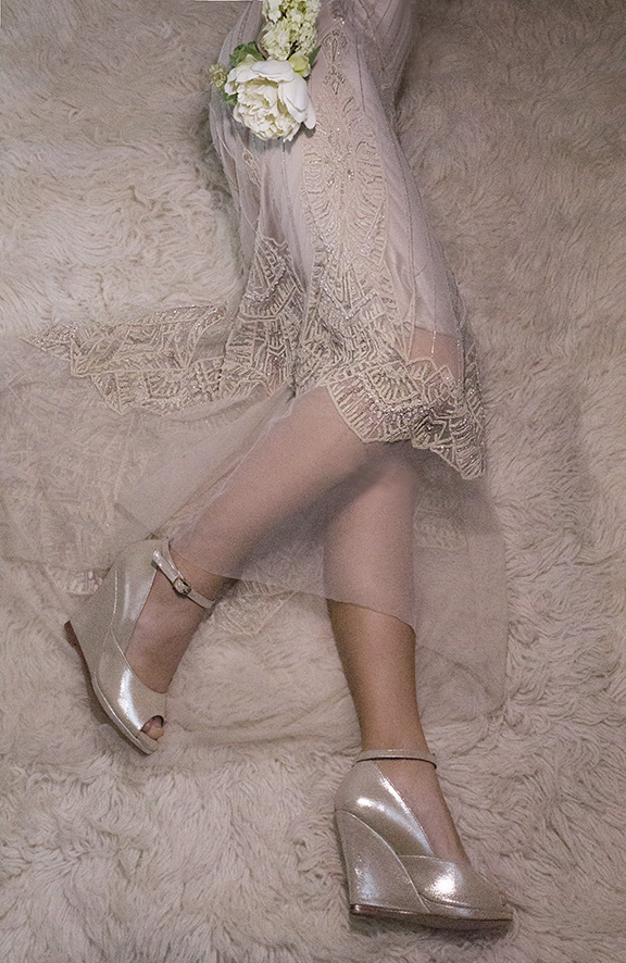 MOORE 4 Gold Shimmer Gwendolynne Preston Zly Wedding Shoes front with Nouveau dress.jpg