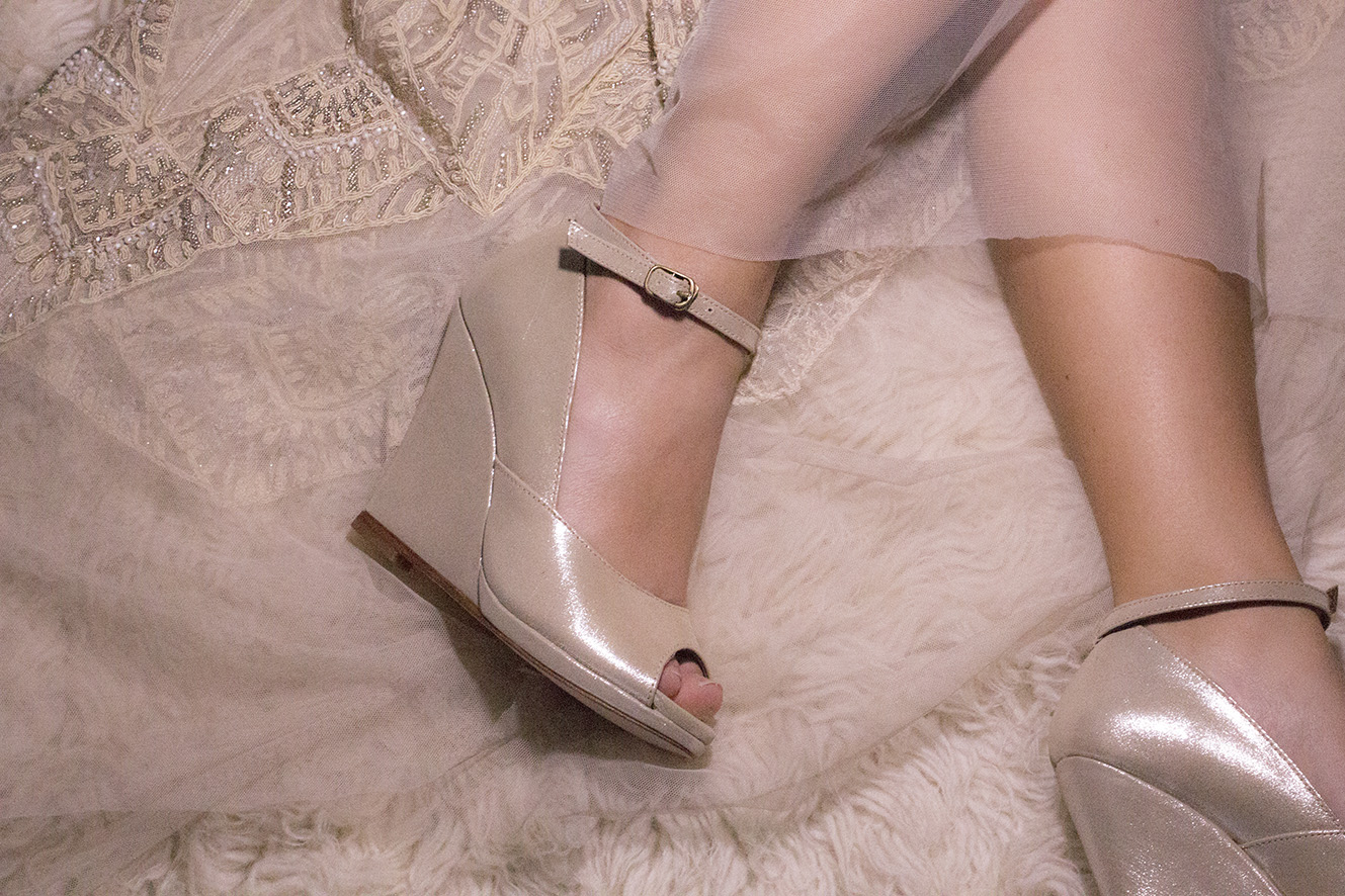 MOORE 5 Gold Shimmer Gwendolynne Preston Zly Wedding Shoes front with Nouveau dress.jpg