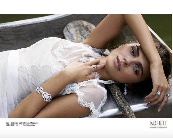 Tianna wedding dress for Keshett Jewellery in Harpers Bazaar