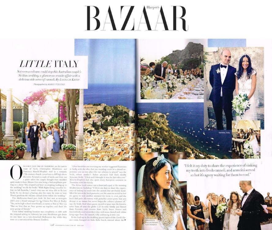 Harpers Bazaar - Fran wearing the Gwendolynne Hope wedding dress